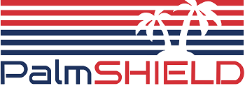 PalmSHIELD logo. Commercial fencing company Cedar Rapids, Iowa fencing contractors architectural mechanical screening screen louvered semi private private solid staggered board on board shadow box alternating ametco barnett and bates industrial louvers rooftop louvers beta orsogrill omega chillers generators truck wells outside storage condensors rooftop equipment patios trash dumpsters transformers HVAC courtyards pool equipment fence aluminum galvanized steel degree of openness direct visibility standalone wall louvers