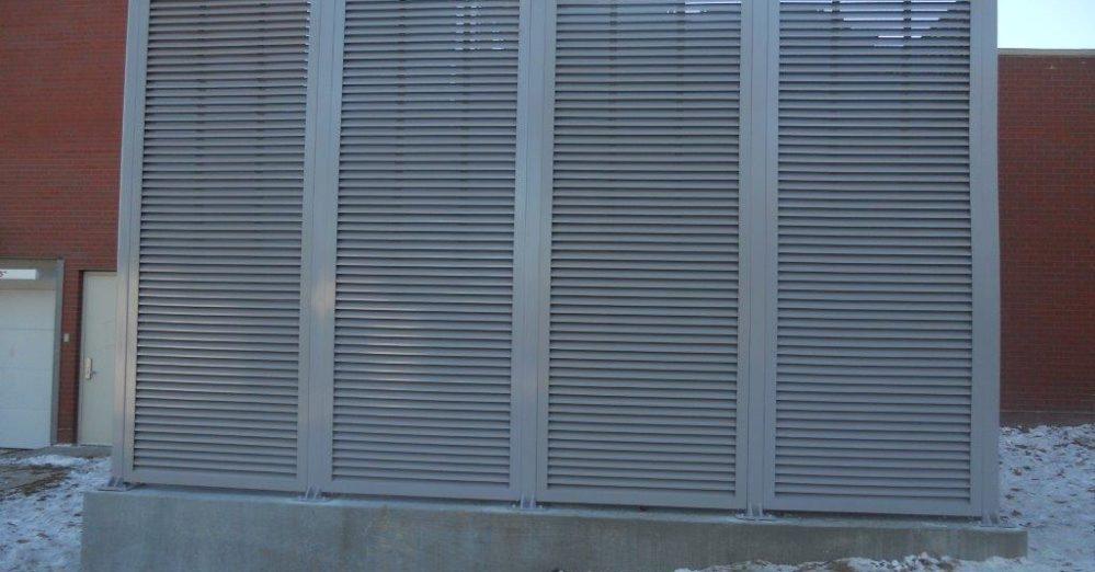 PalmSHIELD Louvers. Mechanical equipment enclosure. A great louvered equipment enclosure.