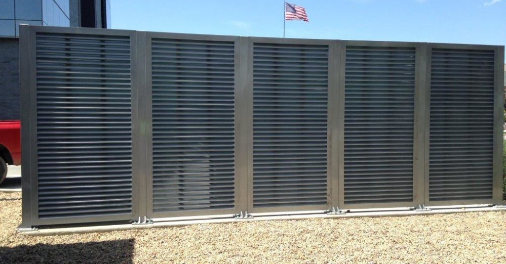 A great louvered equipment enclosure. Architectural mechanical equipment screen