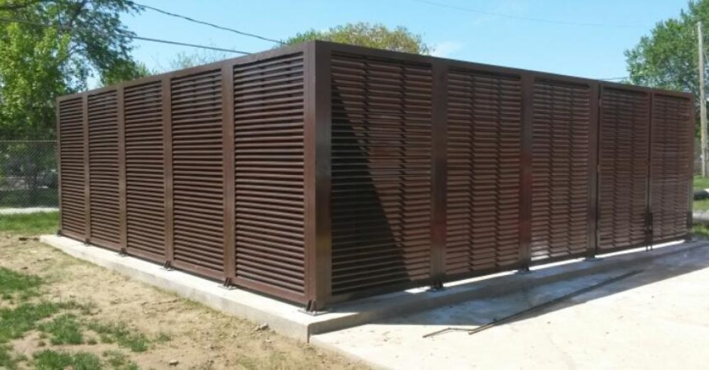 A great louvered equipment enclosure. PalmSHIELD Louvers. Mechanical and electrical equipment louvered screen system.