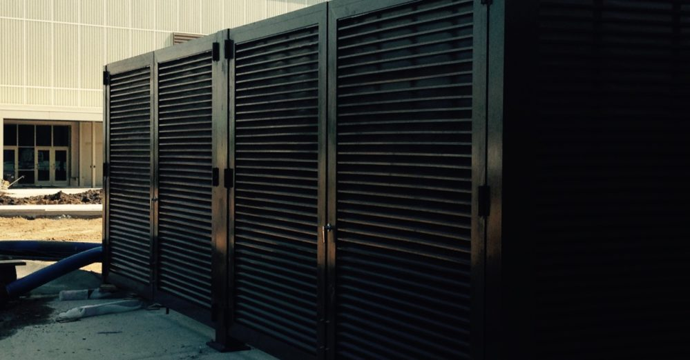 mechanical equipment screen wall. Louvered screen