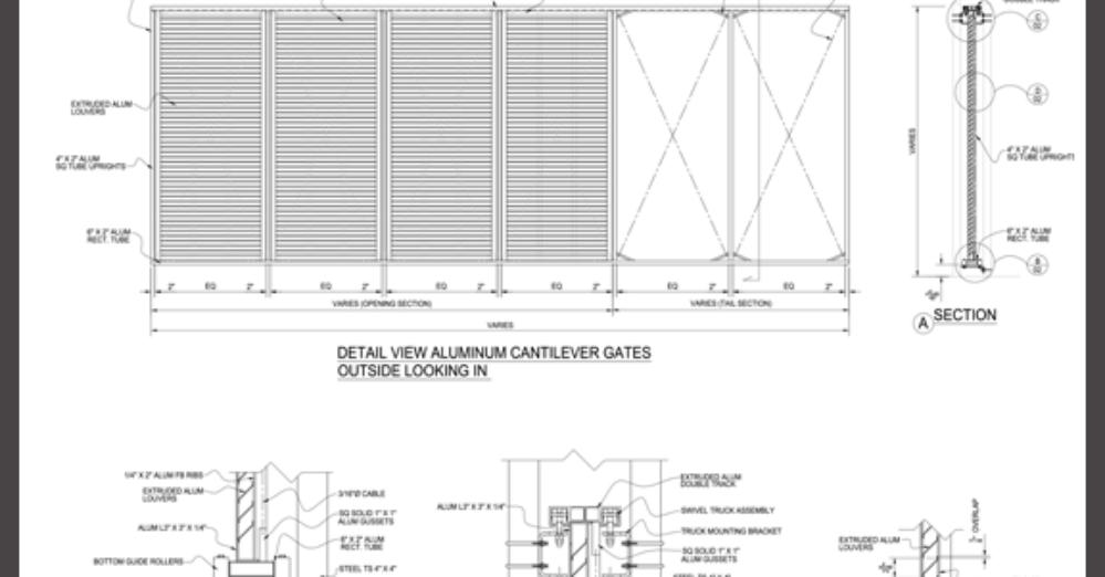 Horizontal Aluminum Louver Infill Sliding Cantilever Gate CAD Drawing