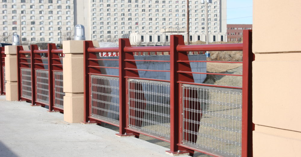 square wire mesh. Architectural square wire railings