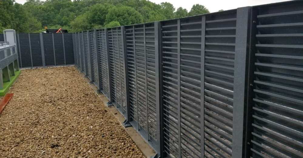 Louvered mechanical equipment screen.