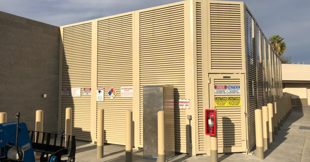 A PalmSHIELD louver system with minimal spacing installed at a Shell hydrogen fueling station for optimum security and ventilation