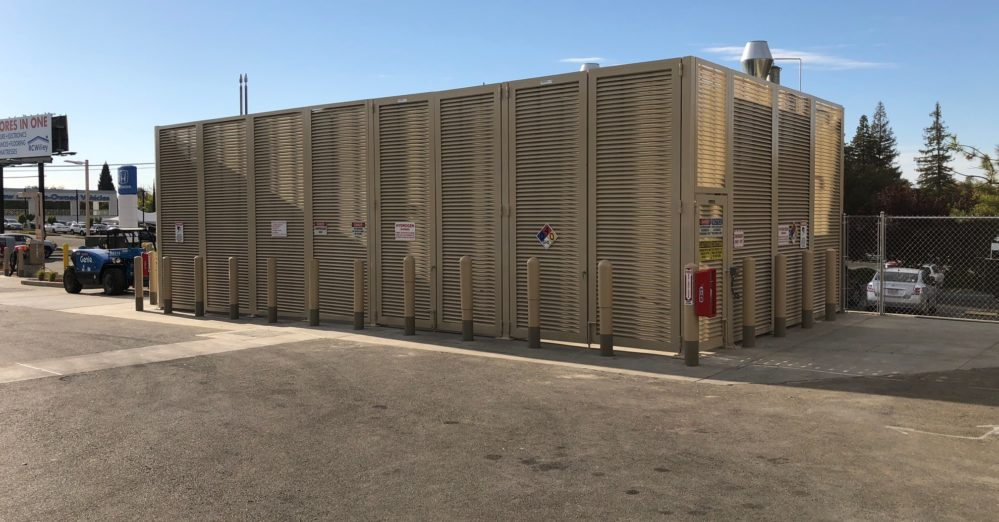 The aluminum louvered fence enclosing a Shell hydrogen refueling station in Citrus Heights, CA