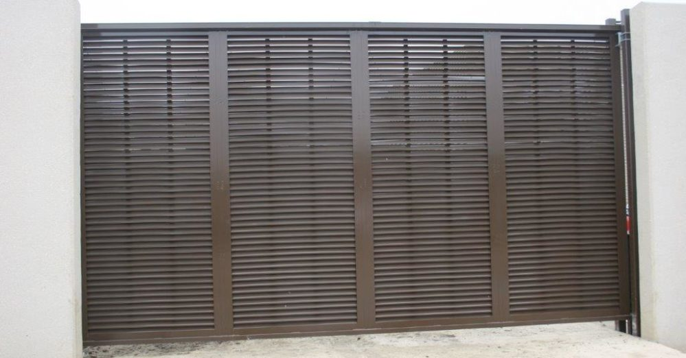 PalmSHIELD Louvers - Architectural sliding gate in dark brown
