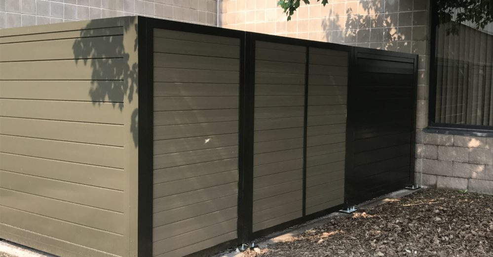 Vinyl solid architectural screening enclosures and gate