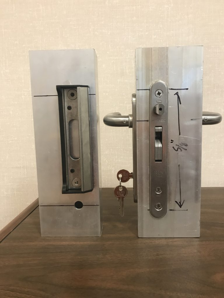 Locinox mortise lock has a common keyable cylinder, auto latch bolt and a very stout hook latch