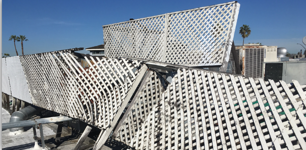 Though these lattice panels provide up to 50% opening, they still failed under 60 MPH winds