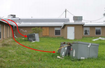 During high winds this mechanical equipment was removed from its foundations and the roof itself.
