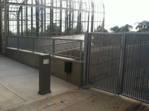 PalmSHIELD Louvers. Vertical louver pedestrian foot traffic barrier