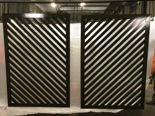 Diagonal architectual louvered panels