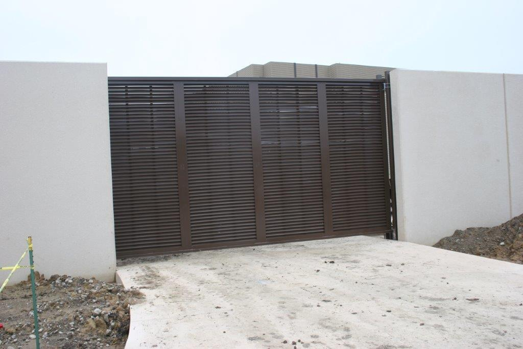 Extra tall commercial sliding gate, powder coated brown