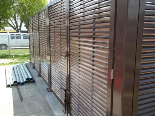 Industrial swing gate, single swing with louver infill