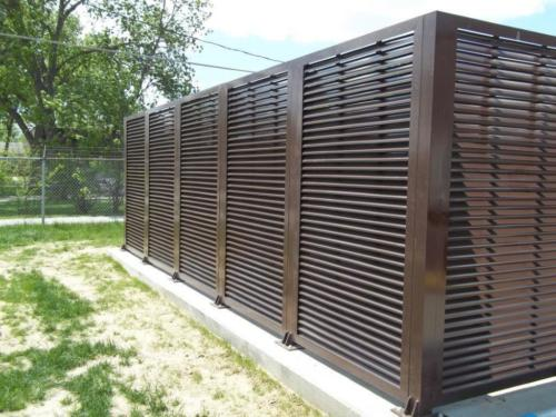 architectural mechanical screening screen louvered semi private private solid staggered board on board shadow box alternating ametco barnett and bates